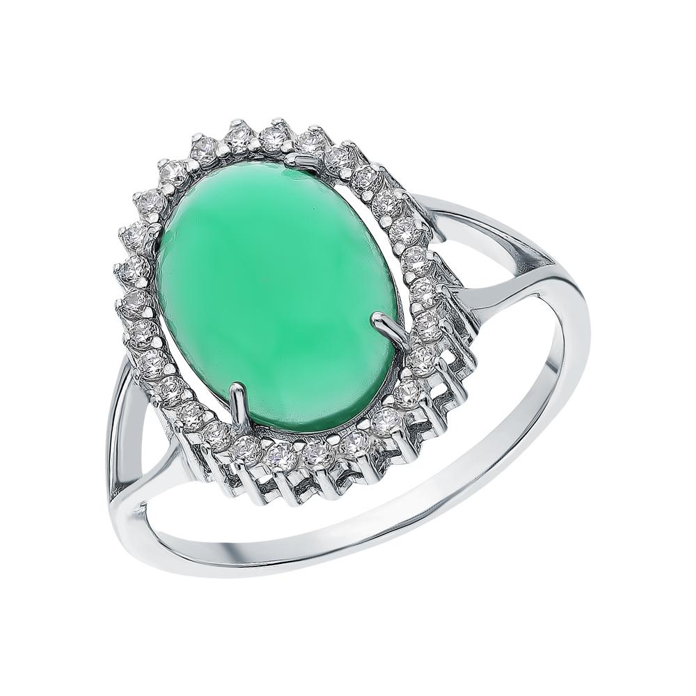 Фото «Серебряное кольцо с нефритом и кубическими циркониями»