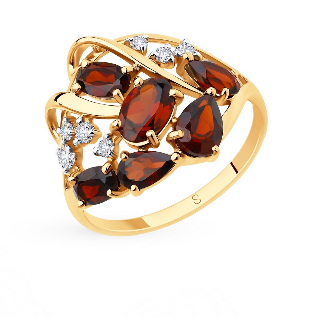 золотое кольцо с фианитами и гранатом SOKOLOV 715775*