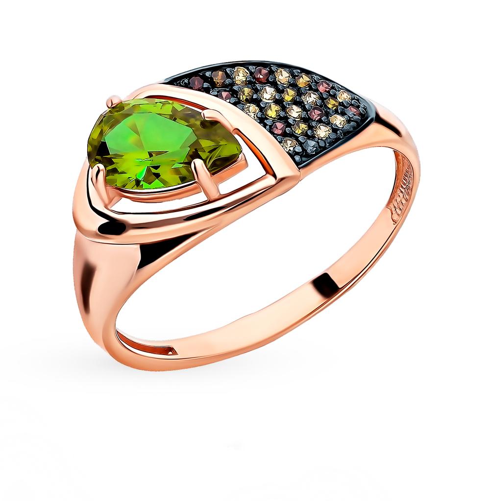Золотое кольцо с султанитом и фианитами в Екатеринбурге