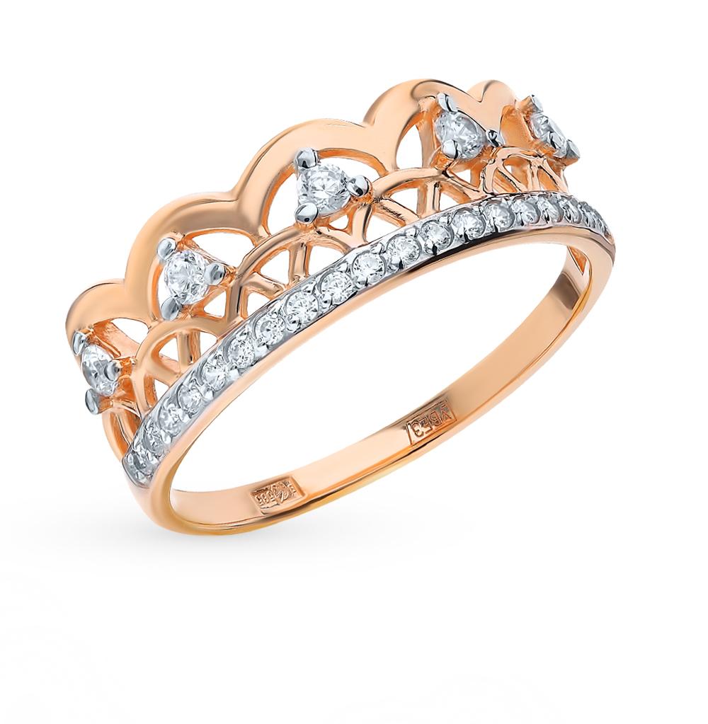 золотое кольцо с фианитами SOKOLOV 017579*