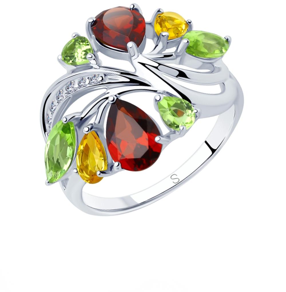 серебряное кольцо с хризолитом, фианитами, гранатом и цитринами SOKOLOV 92011833