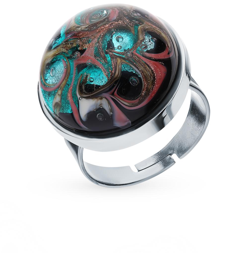 стальное кольцо с муранскими стёклами
