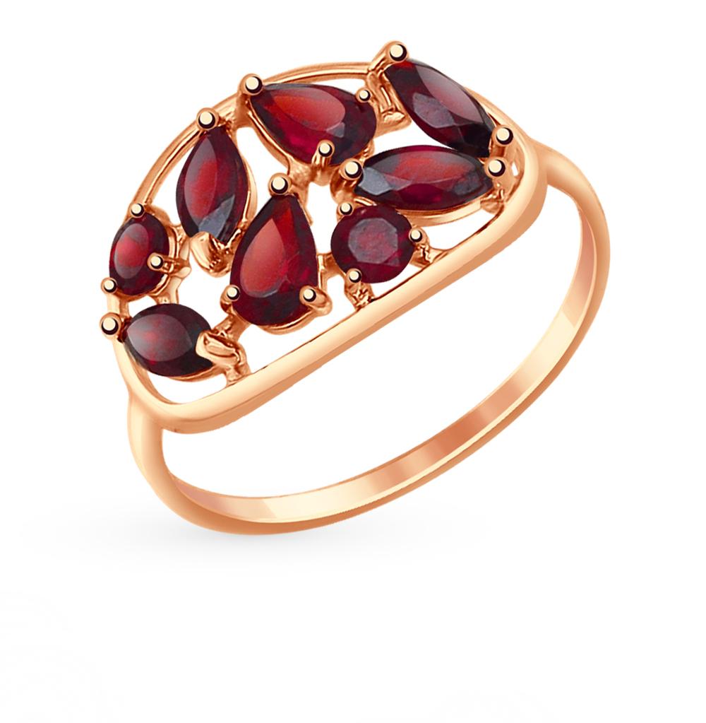 золотое кольцо с гранатом SOKOLOV 714655*