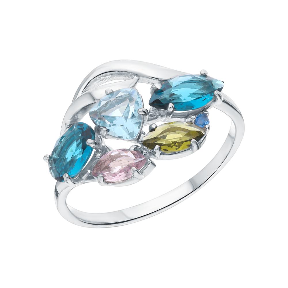 Фото «Серебряное кольцо с фианитами, турмалинами имитациями, топазами имитациями, лондонами топазами и аметистами синтетическими»