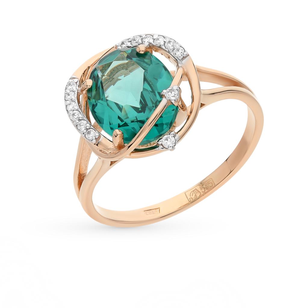 Фото «Золотое кольцо с фианитами и параиба ситал»