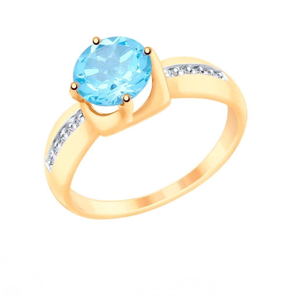 Фото «Золотое кольцо с топазами и фианитами SOKOLOV 715338»