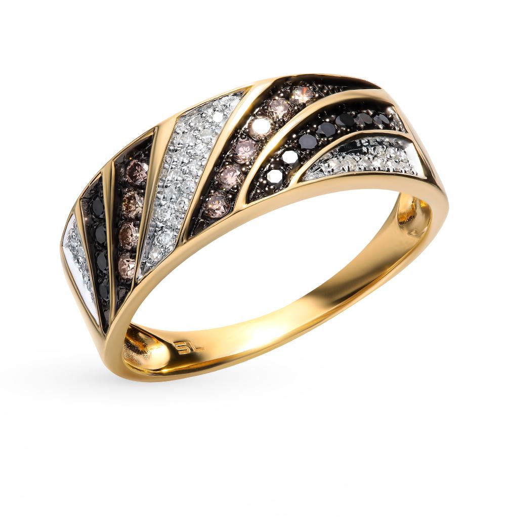 Золотое кольцо с чёрными и коньячными бриллиантами