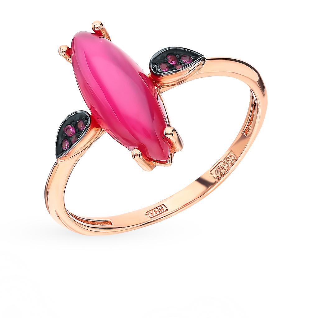 Золотое кольцо с рубинами и фианитами в Екатеринбурге