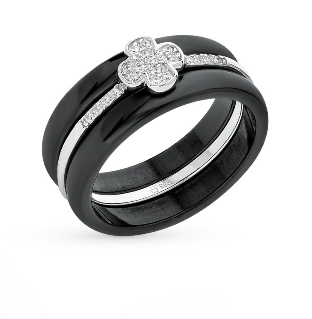 Фото «кольцо из серебра и керамики с фианитами»