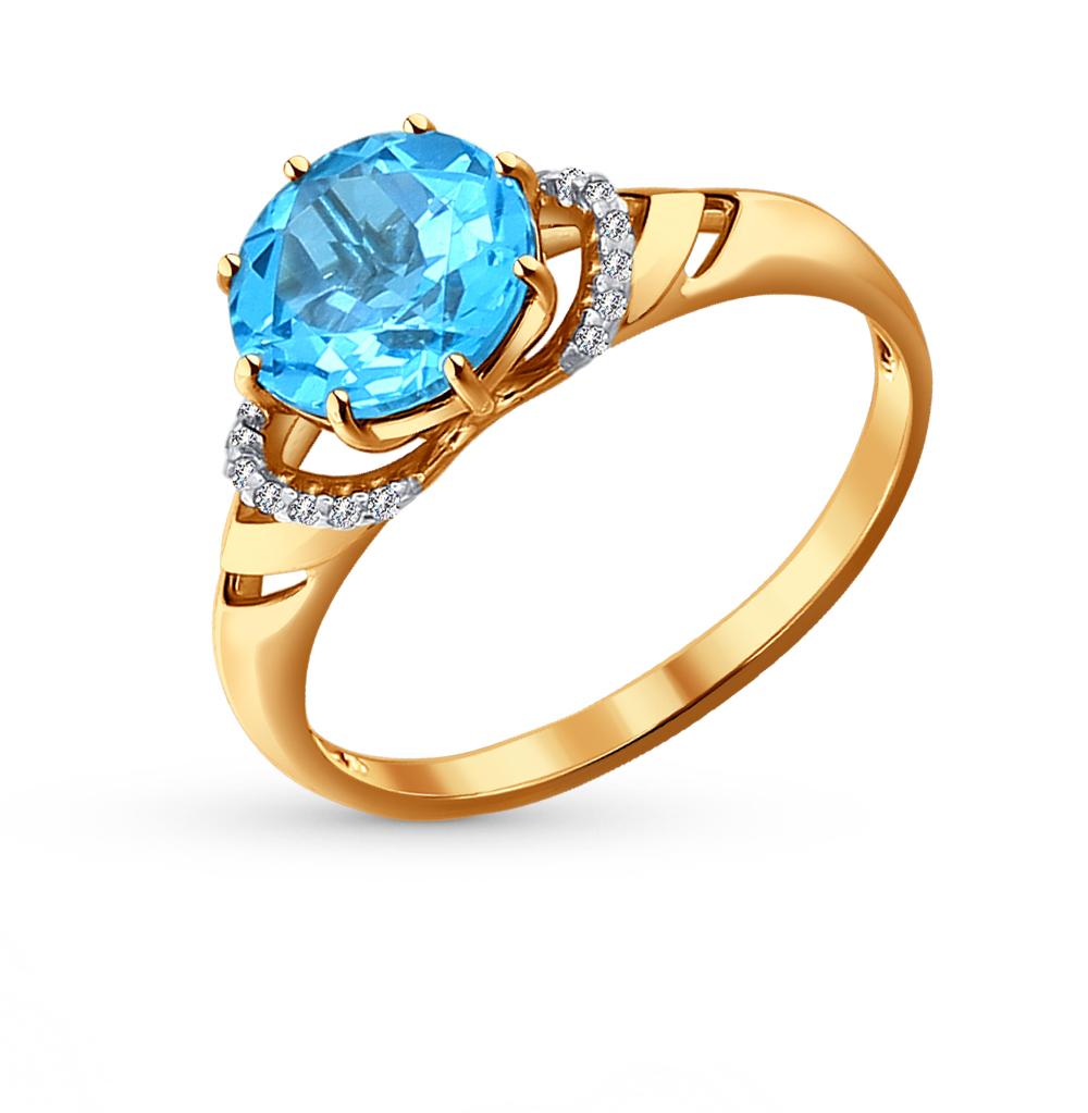 золотое кольцо с топазами и фианитами SOKOLOV 714011*