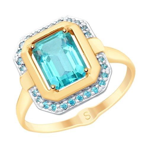 Золотое кольцо с топазами и фианитами SOKOLOV 715352* в Екатеринбурге