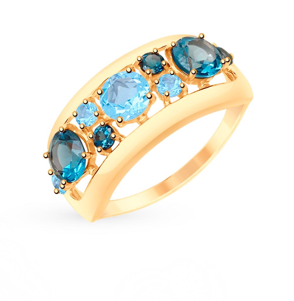Золотое кольцо с топазами и фианитами SOKOLOV 715088* в Екатеринбурге