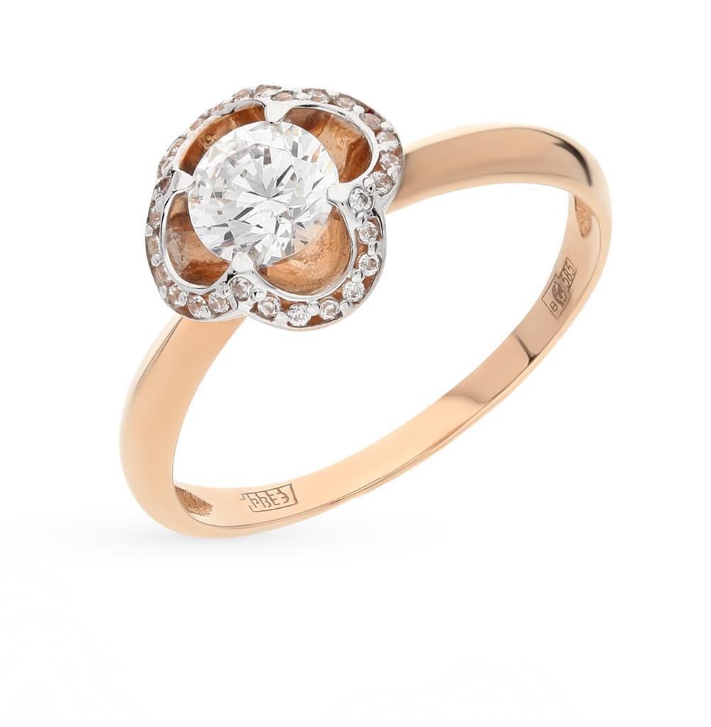 золотое кольцо с фианитами swarovski SOKOLOV 81010097*