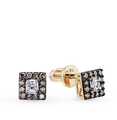 золотые серьги с коньячными бриллиантами и топазами