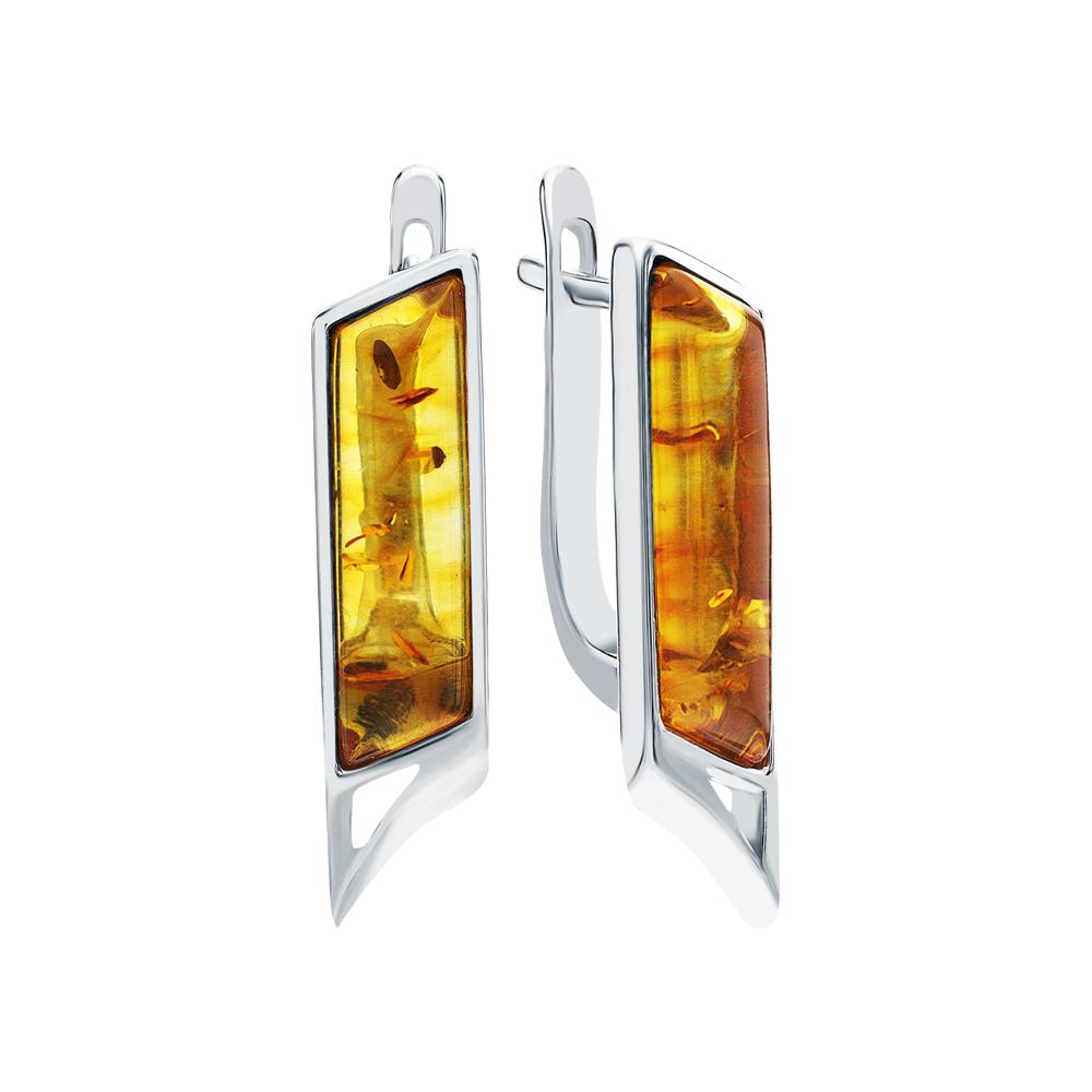 Серебряные серьги с янтарем искусственным в Екатеринбурге