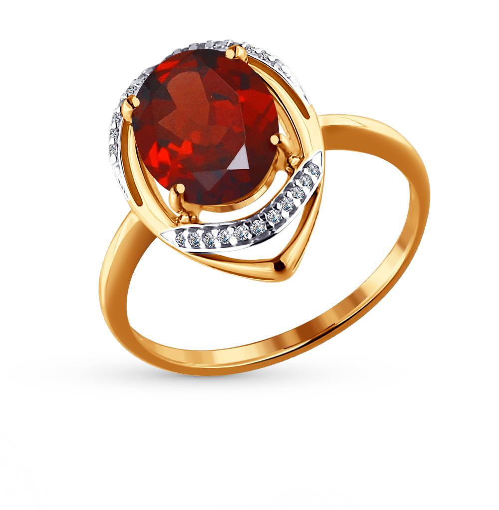 Фото «Золотое кольцо с фианитами и гранатом SOKOLOV 713966*»