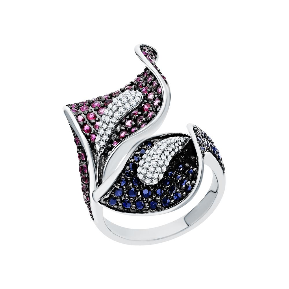 Золотое кольцо с рубинами, сапфирами и бриллиантами в Екатеринбурге