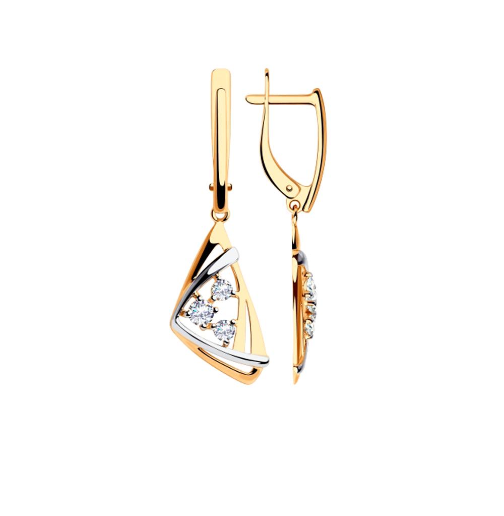 золотые серьги с фианитами SOKOLOV 028259