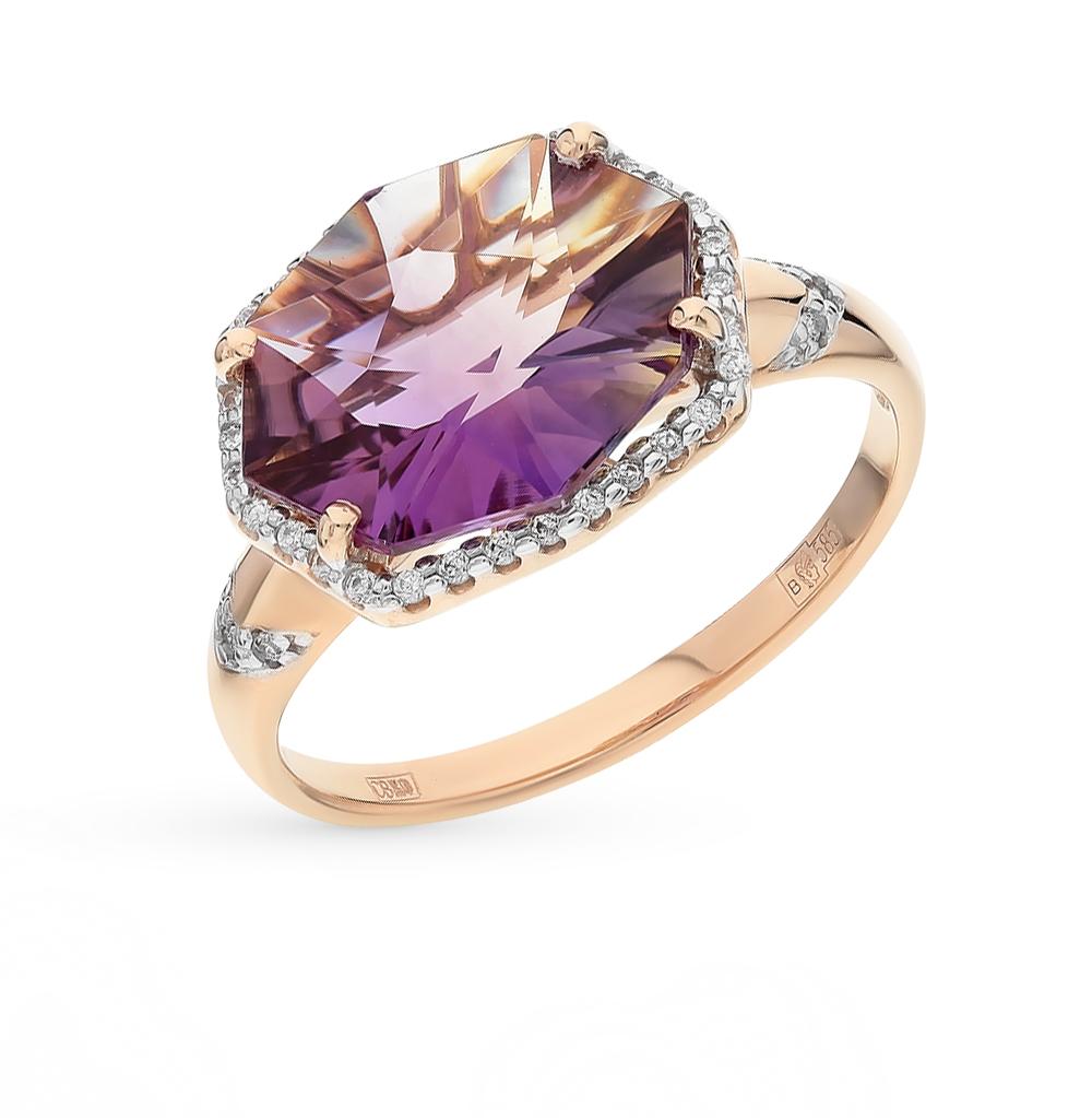 Фото «Золотое кольцо с аметринами и фианитами»