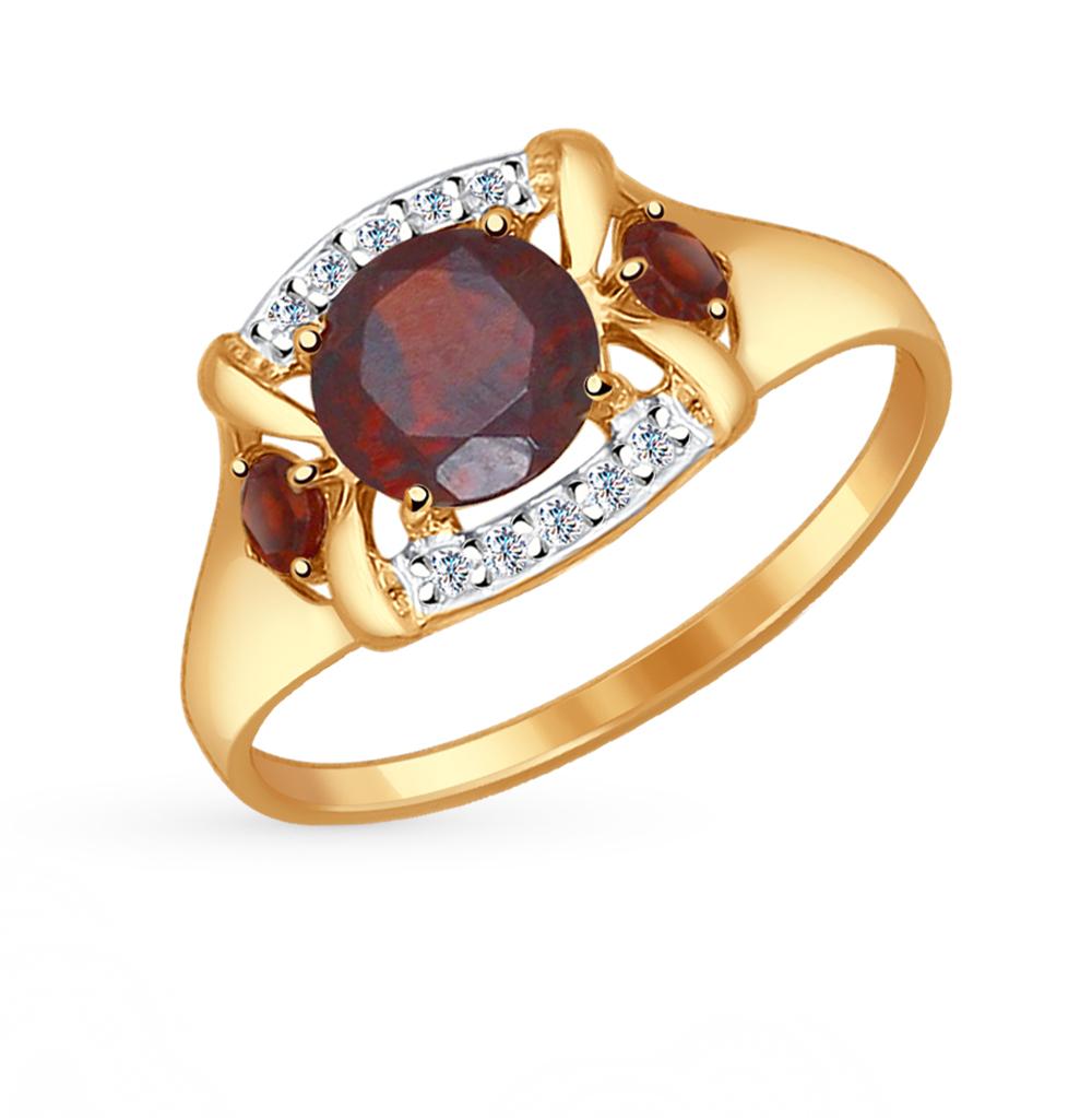 Золотое кольцо с фианитами и гранатом SOKOLOV 714517* в Екатеринбурге