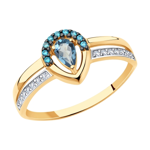 Фото «Золотое кольцо с топазами и фианитами SOKOLOV 715716»