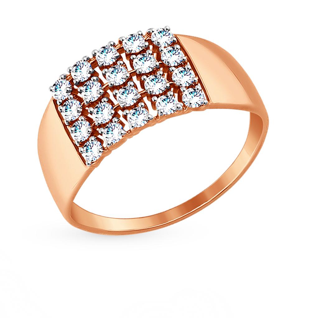 золотое кольцо с фианитами SOKOLOV 017356*