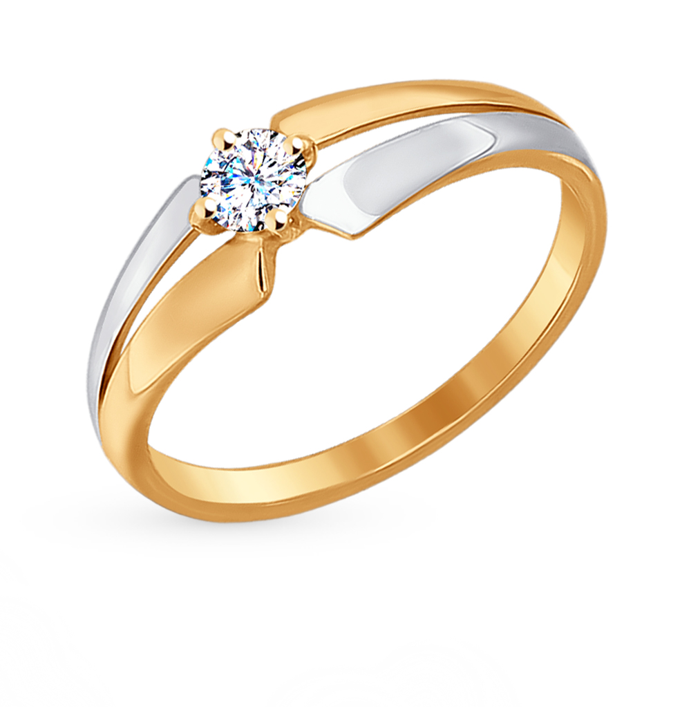 Фото «Золотое кольцо с фианитами SOKOLOV 017205*»