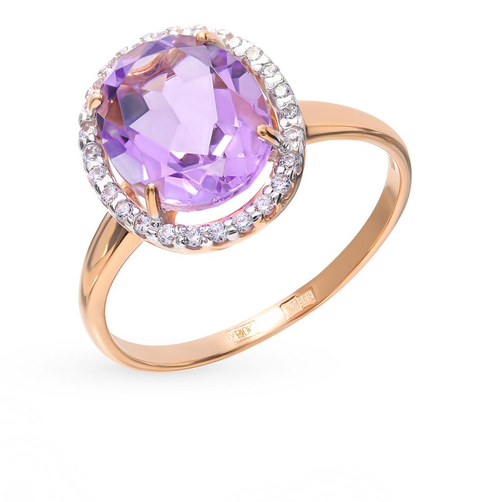 золотое кольцо с аметистом и фианитами SOKOLOV 714970*