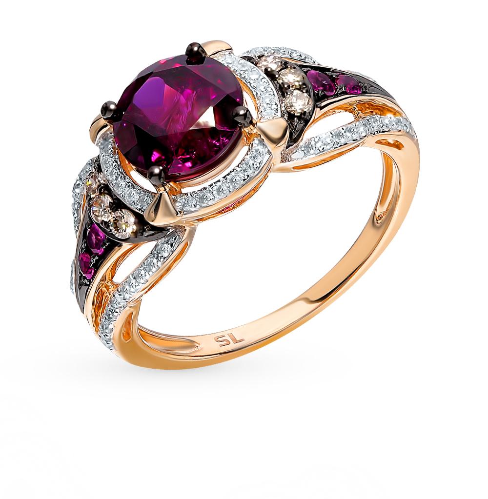 Золотое кольцо с коньячными бриллиантами, рубинами и родолитом