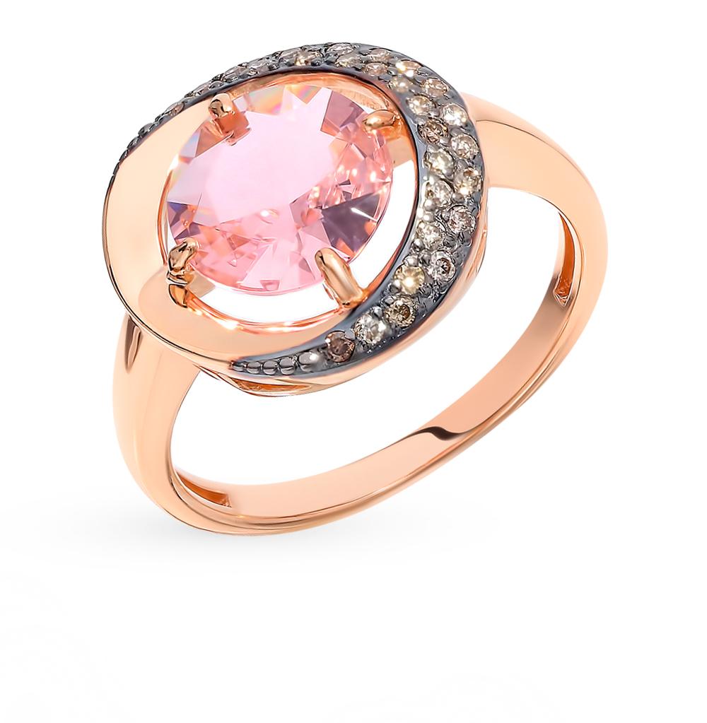 Фото «Золотое кольцо с коньячными бриллиантами и морганитом»
