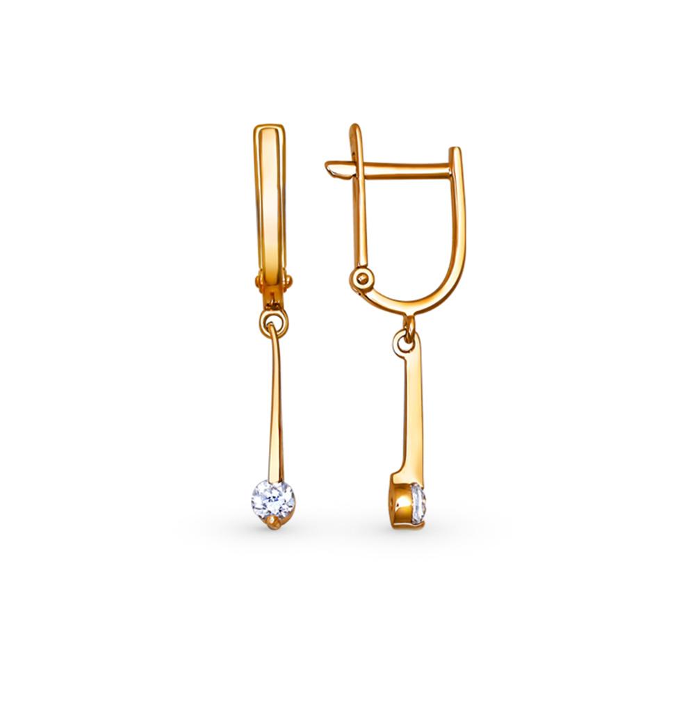 золотые серьги с фианитами SOKOLOV 025569*