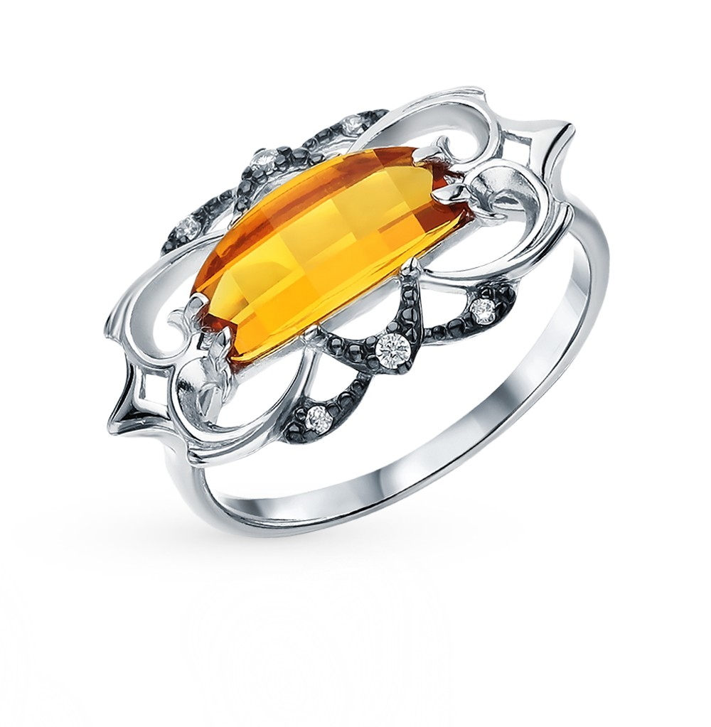 Фото «Серебряное кольцо с фианитами и цитринами»