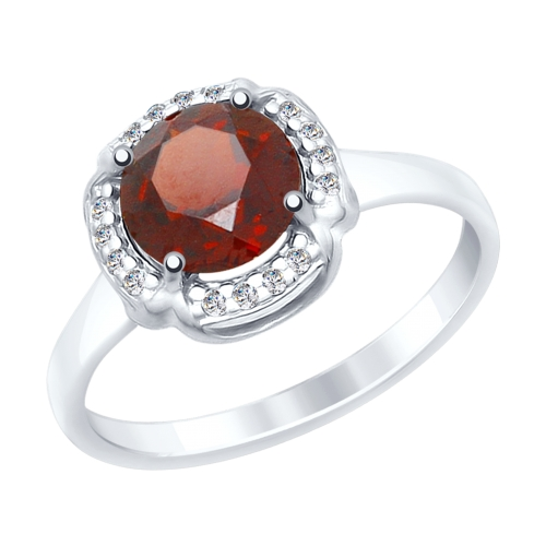 Фото «Серебряное кольцо с фианитами и гранатом SOKOLOV 92011517»