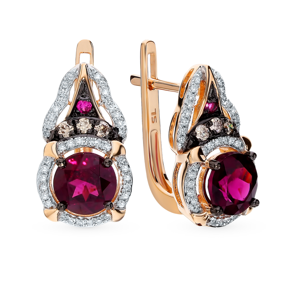 Золотые серьги с коньячными бриллиантами, родолитами и рубинами