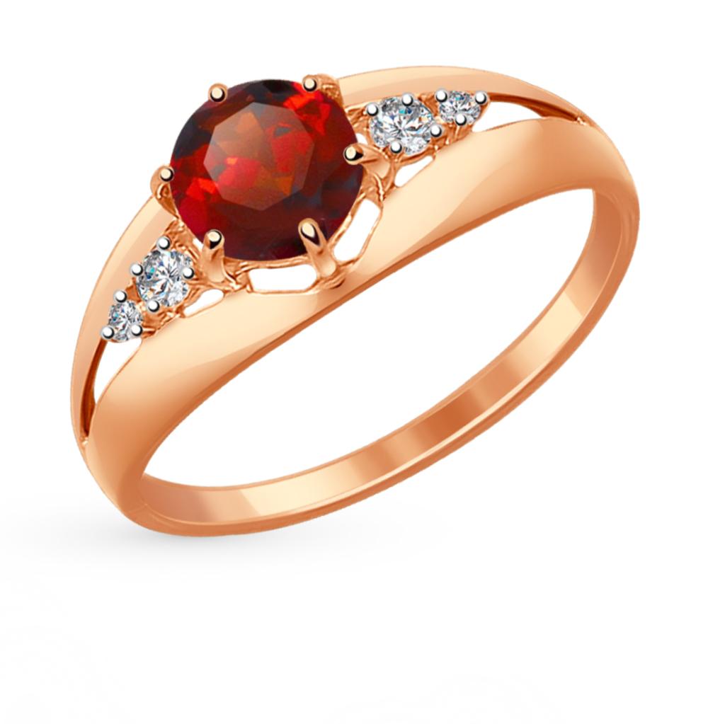 золотое кольцо с фианитами и гранатом SOKOLOV 714440*