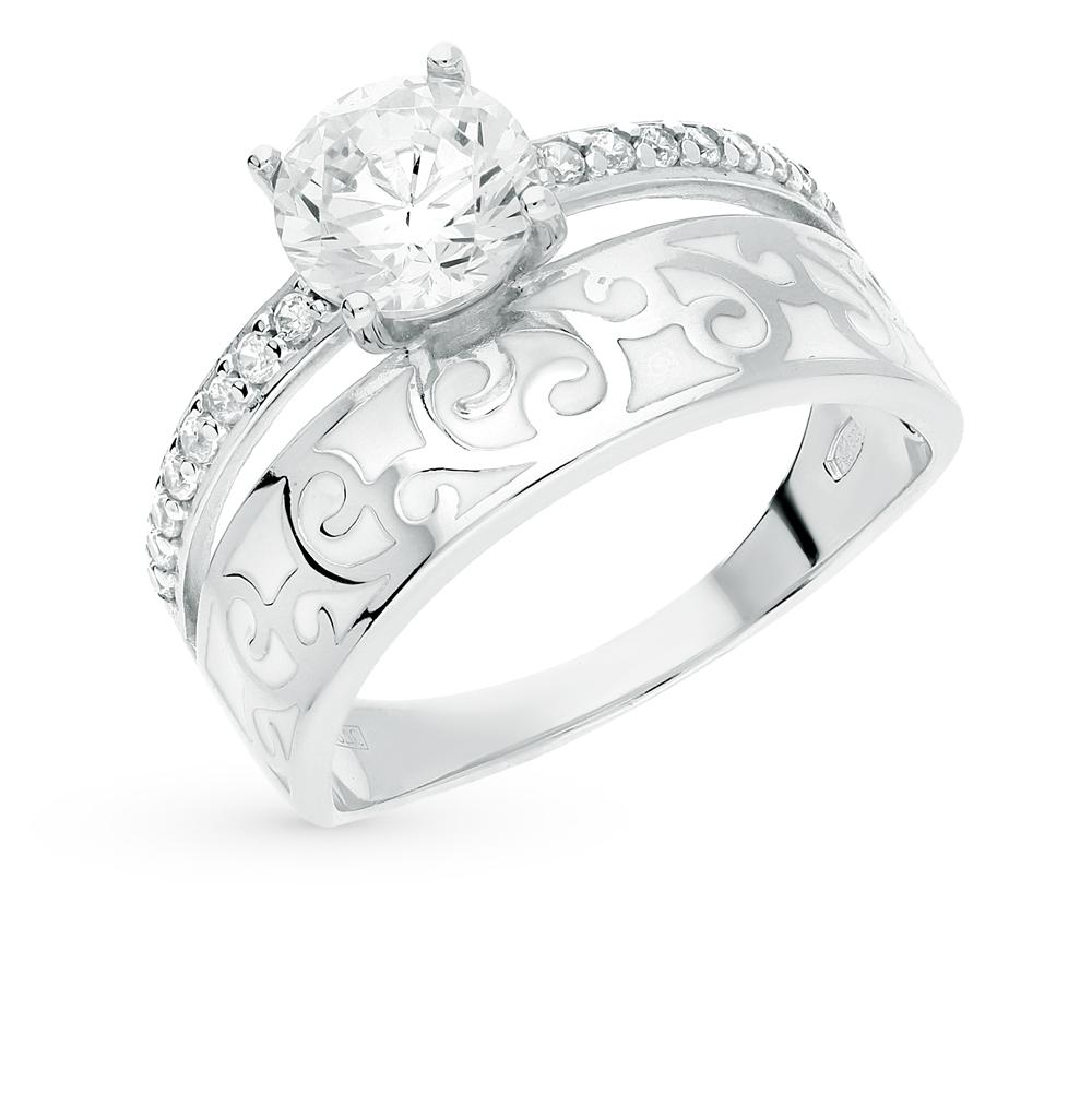 серебряное кольцо с фианитами и эмалью SOKOLOV 94011138