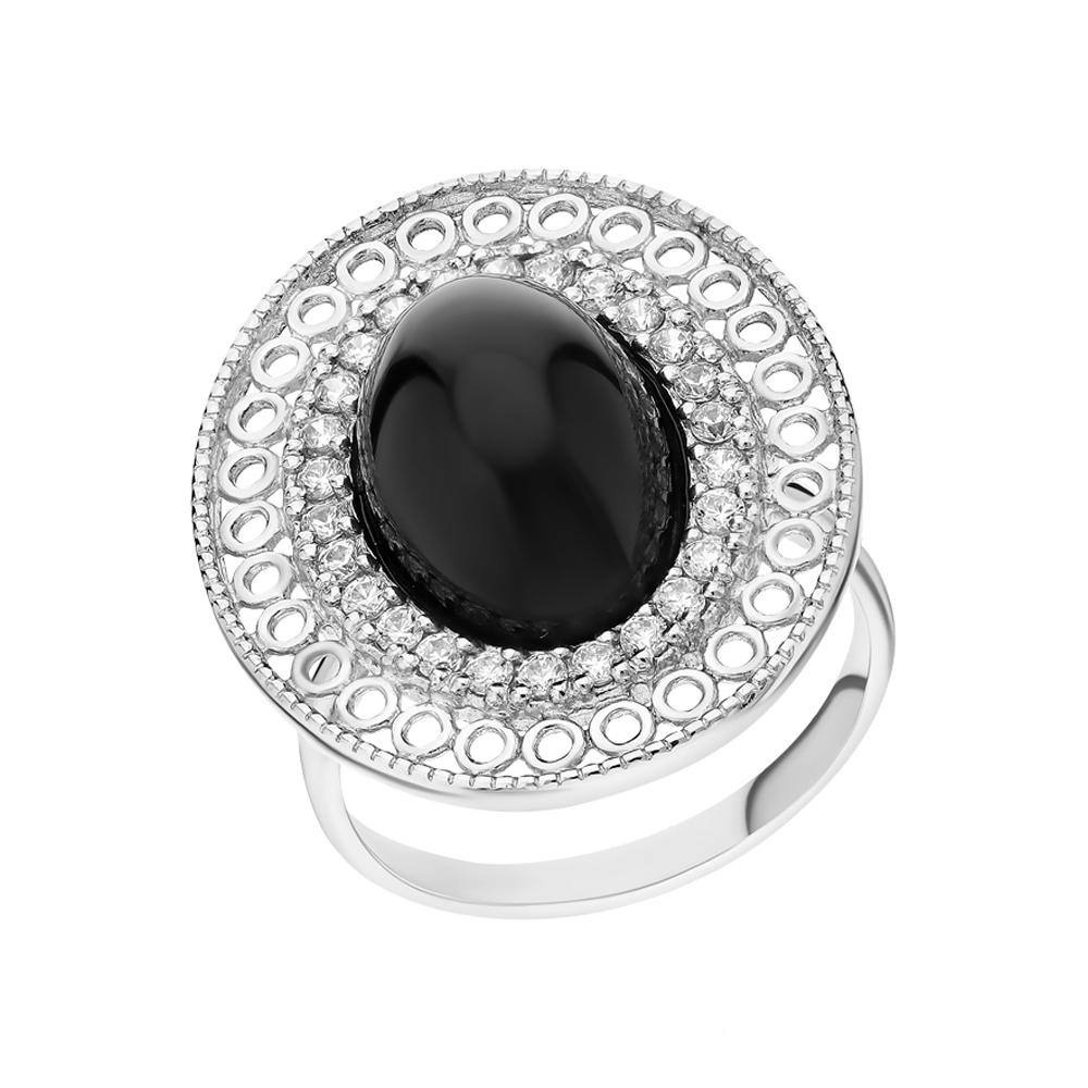 Серебряное кольцо с нефритом и фианитами в Екатеринбурге
