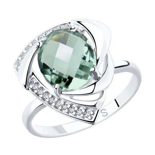 Серебряное кольцо с кварцем и фианитами SOKOLOV 92011772 в Екатеринбурге