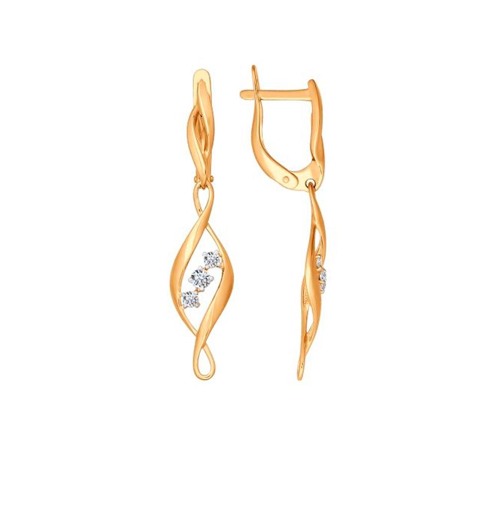 Золотые серьги с фианитами SOKOLOV 026667* в Екатеринбурге