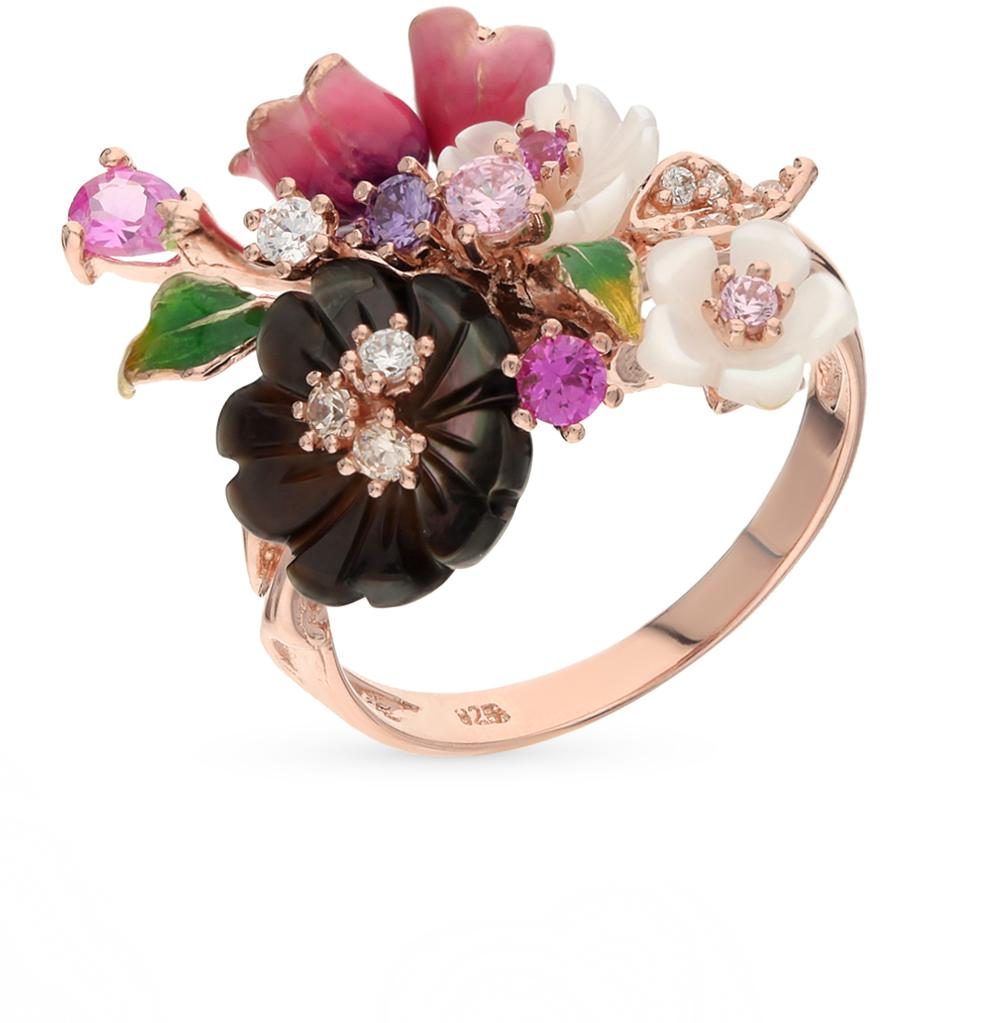 Фото «серебряное кольцо с фианитами, перламутром и сапфирами синтетическими»