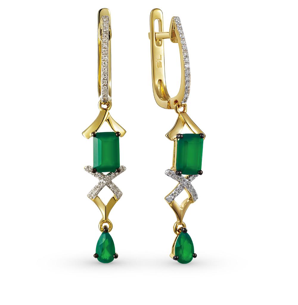 Фото «золотые серьги с агатом и бриллиантами»