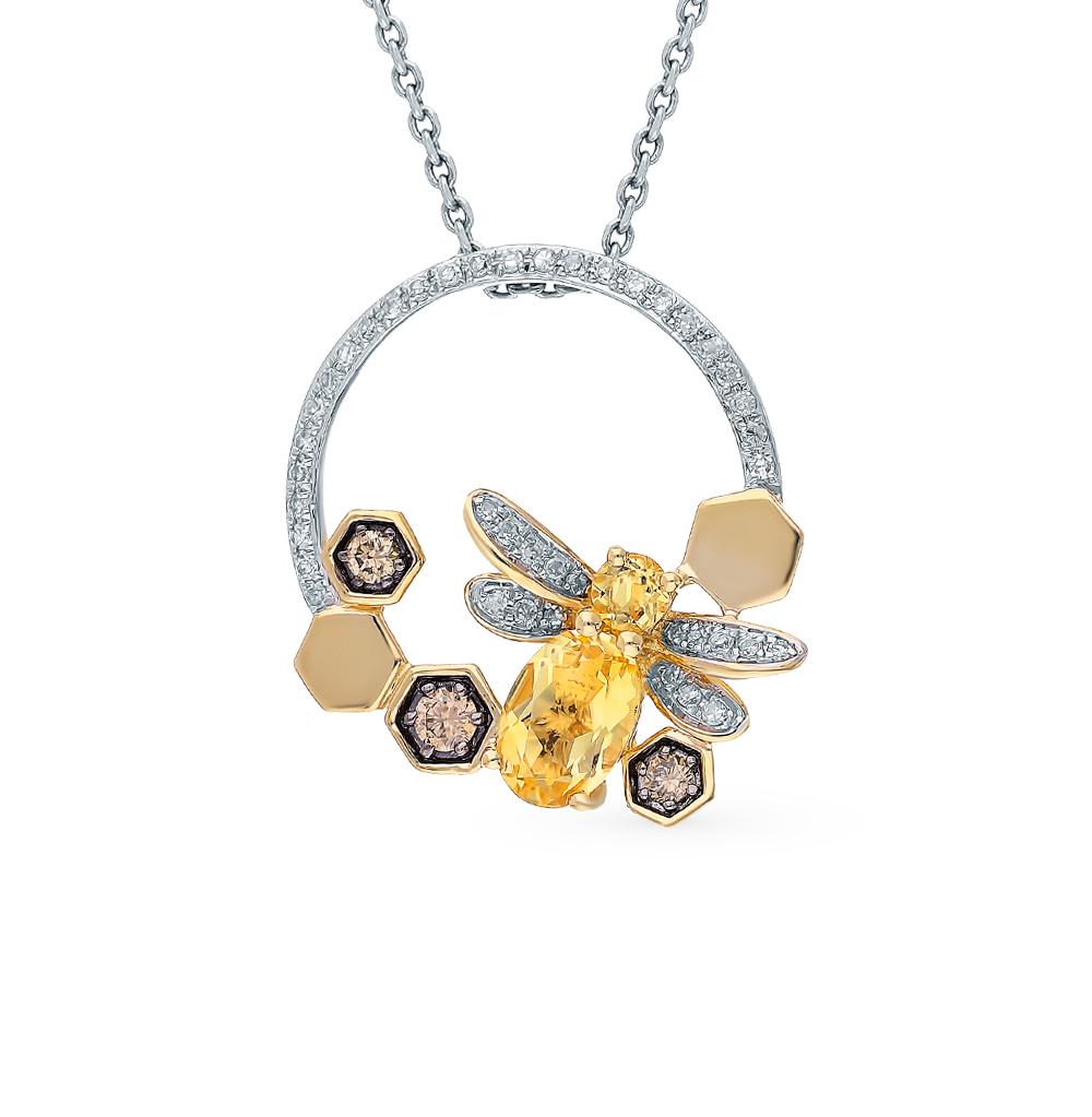 Золотая подвеска с цитринами и бриллиантами в Екатеринбурге