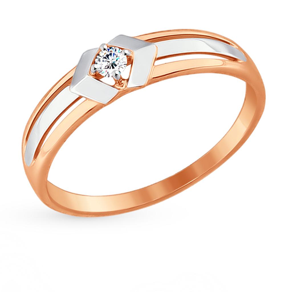 золотое кольцо с фианитами SOKOLOV 017370*