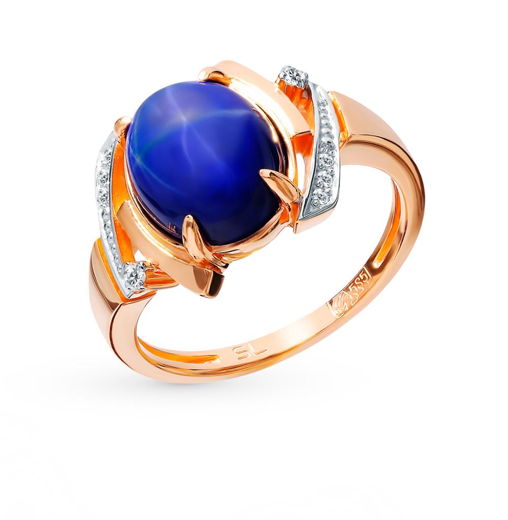 Фото «Золотое кольцо с звездчатыми сапфирами и бриллиантами»
