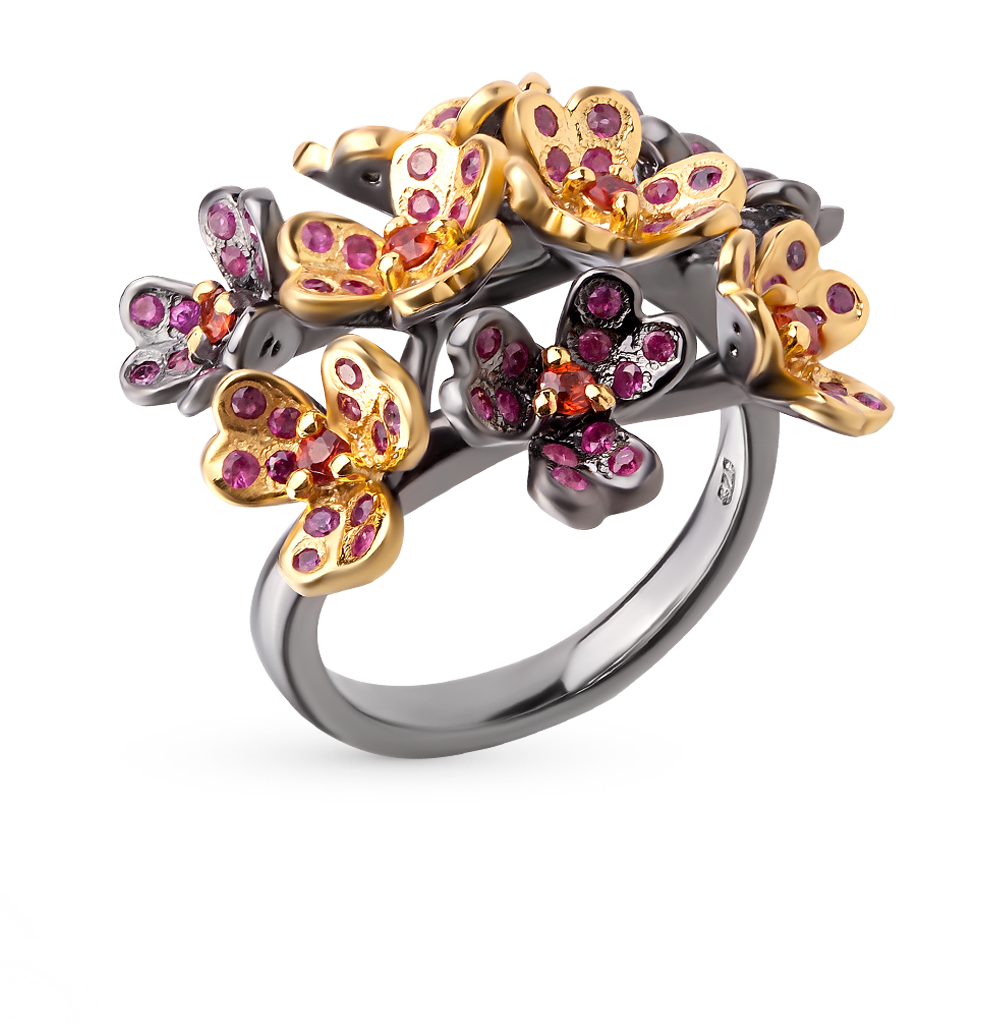 Фото «серебряное кольцо с рубинами и сапфирами»