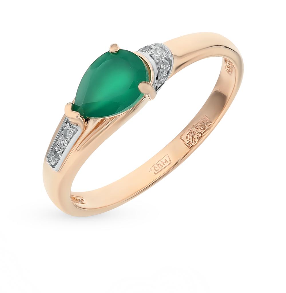 золотое кольцо с агатом и бриллиантами