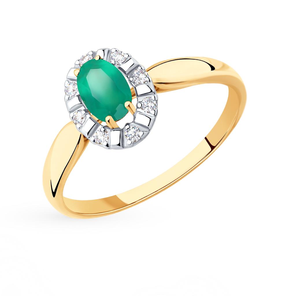 Золотое кольцо с фианитами и агатом SOKOLOV 715449* в Екатеринбурге
