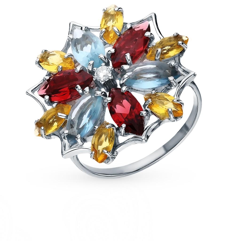 Фото «Серебряное кольцо с топазами, фианитами, гранатом и цитринами»