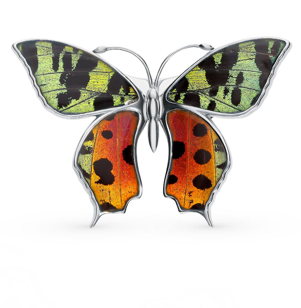 Серебряная брошь с эмалью и крыльями бабочки, 6.5 см