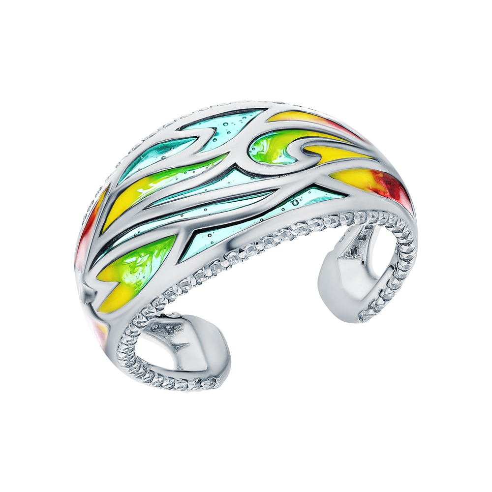 Фото «Серебряное кольцо с эмалью и кубическими циркониями»